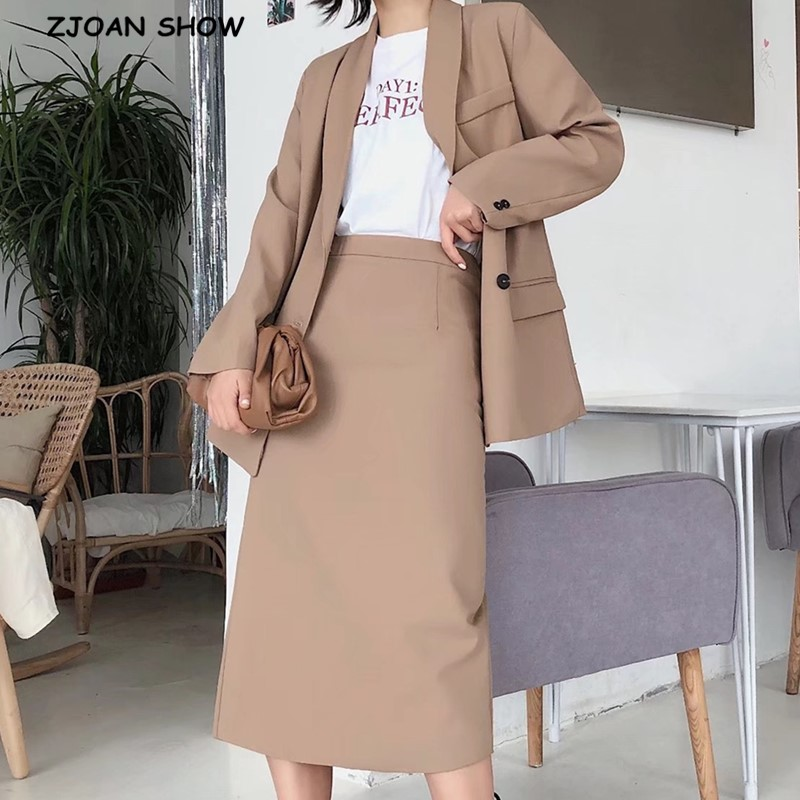 2020 Autumn Double-breasted Button Mid Long Blazer High Waist Mid Calf Back Slit  Skirts OL Women Long Sleeve Suits 2 Pieces Set