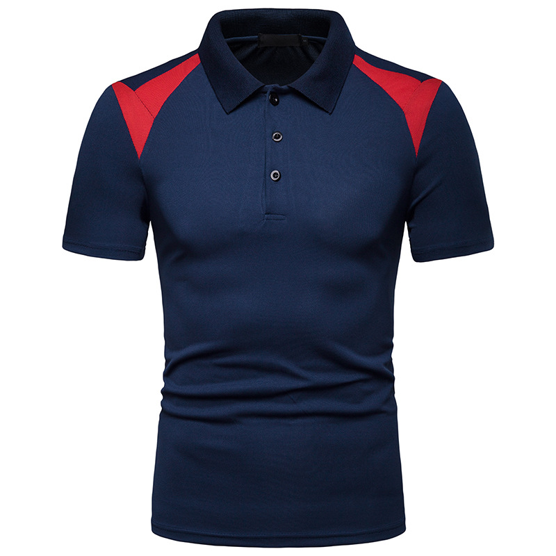 BINHIIRO Men's   POLO   shirt Blended Cotton Breathable Splicing lapel Tops Business Casual sports Short-sleeved   POLO   shirt Men D58