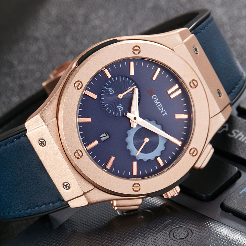 Unique Men Watch Analog Quartz Date Wristwatch Fashion Leather Strap Clock Sport Military Cool Male Relogio Masculino Uhr