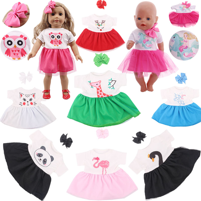 Cute Unicorn/Swan/Owl/Panda... 14 Styles Dress Fit 18 Inch American Doll&43 CM Born Baby Doll Clothes,Our Generation,Girl's Toys