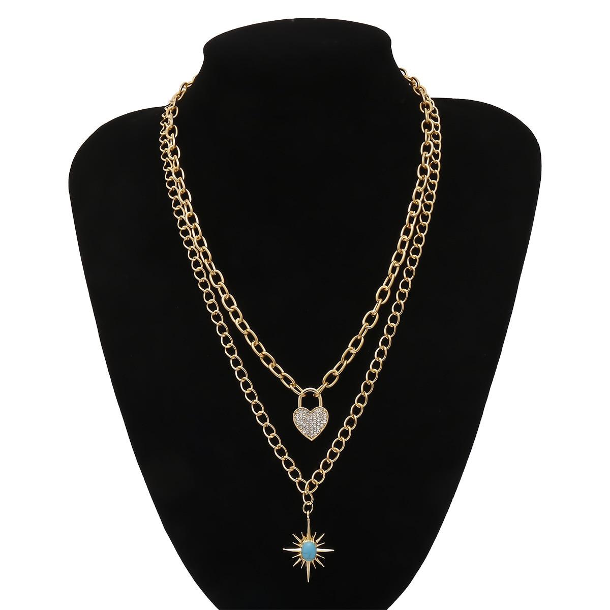 Retro Stone Sun Shape Pendant Necklace Rhinestone Heart Necklaces for Women Gold Color 2020 Fashion Jewelry Clavicle Chains New