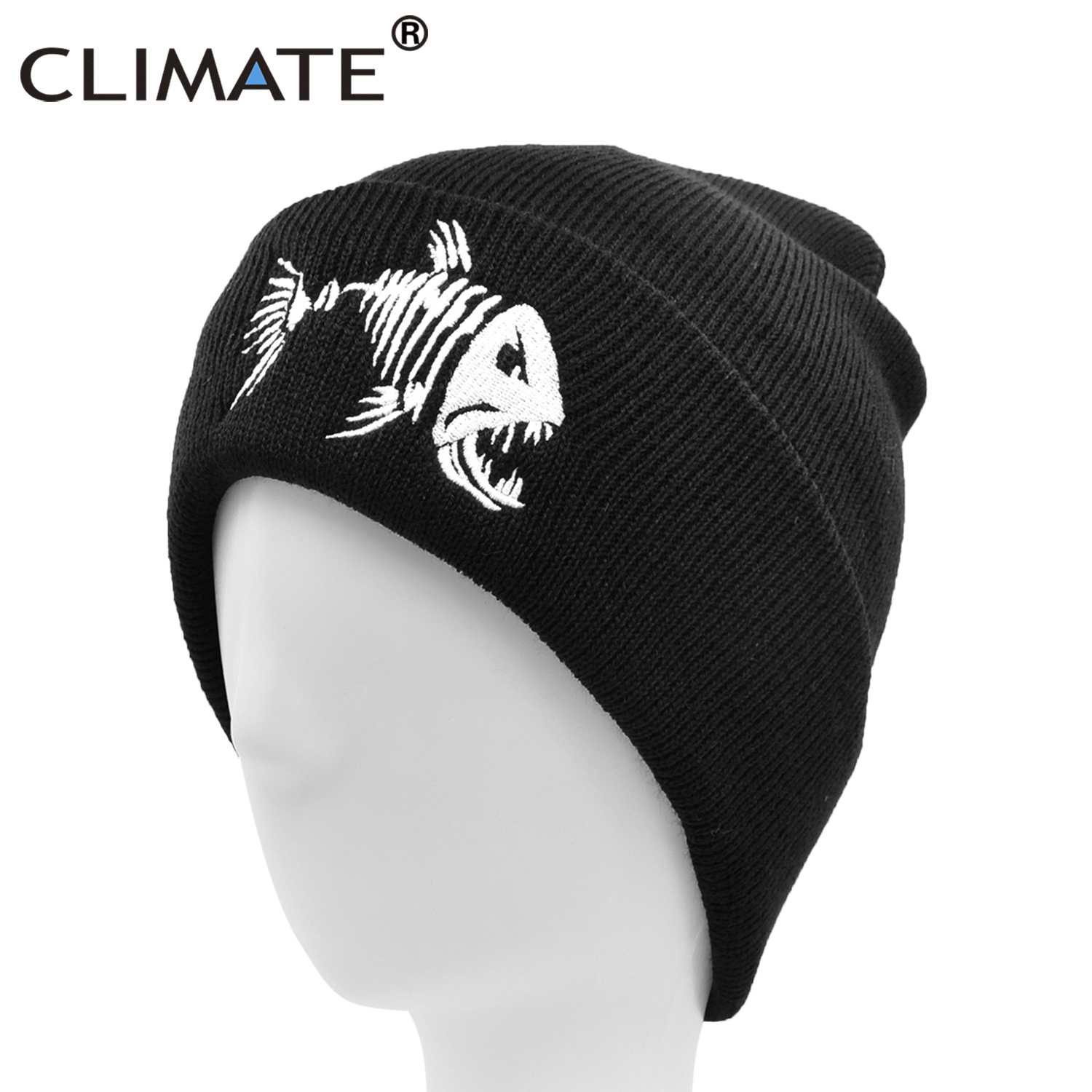CLIMATE Men Beanie Hat Winter Warm Fishing Beanies Black Knit Skullies Fish Bone Cool Black Hip Hop Warm Hat For Man Hat Beanies