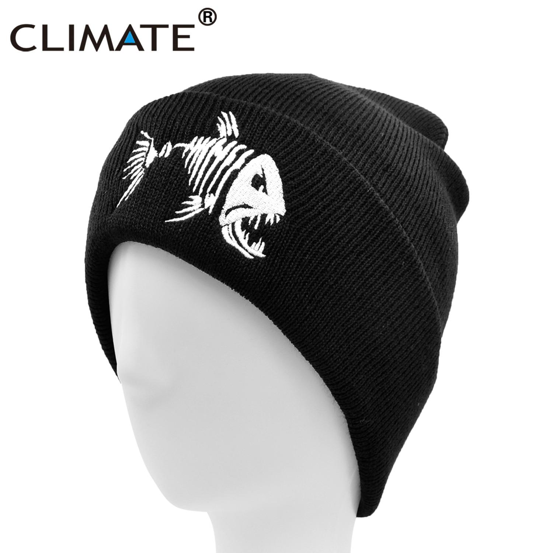 CLIMATE Men   Beanie   Hat Winter Warm Fishing   Beanies   Black Knit   Skullies   Fish Bone Cool Black Hip Hop Warm Hat for Man Hat   Beanies