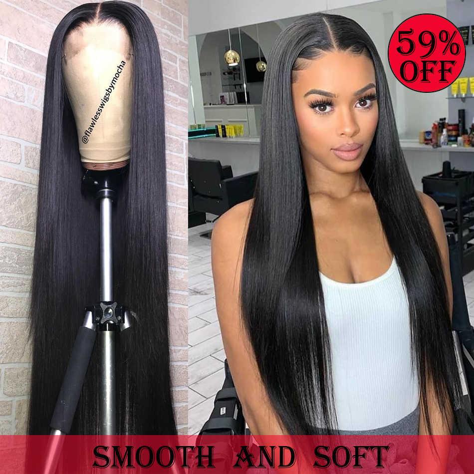 Rosabeauty Gerade 13X6 Spitze Front Menschliches Haar Perücken Brasilianische Reines Haar Für Schwarze Frauen PrePlucked 30 Zoll 360 frontal HD perücke