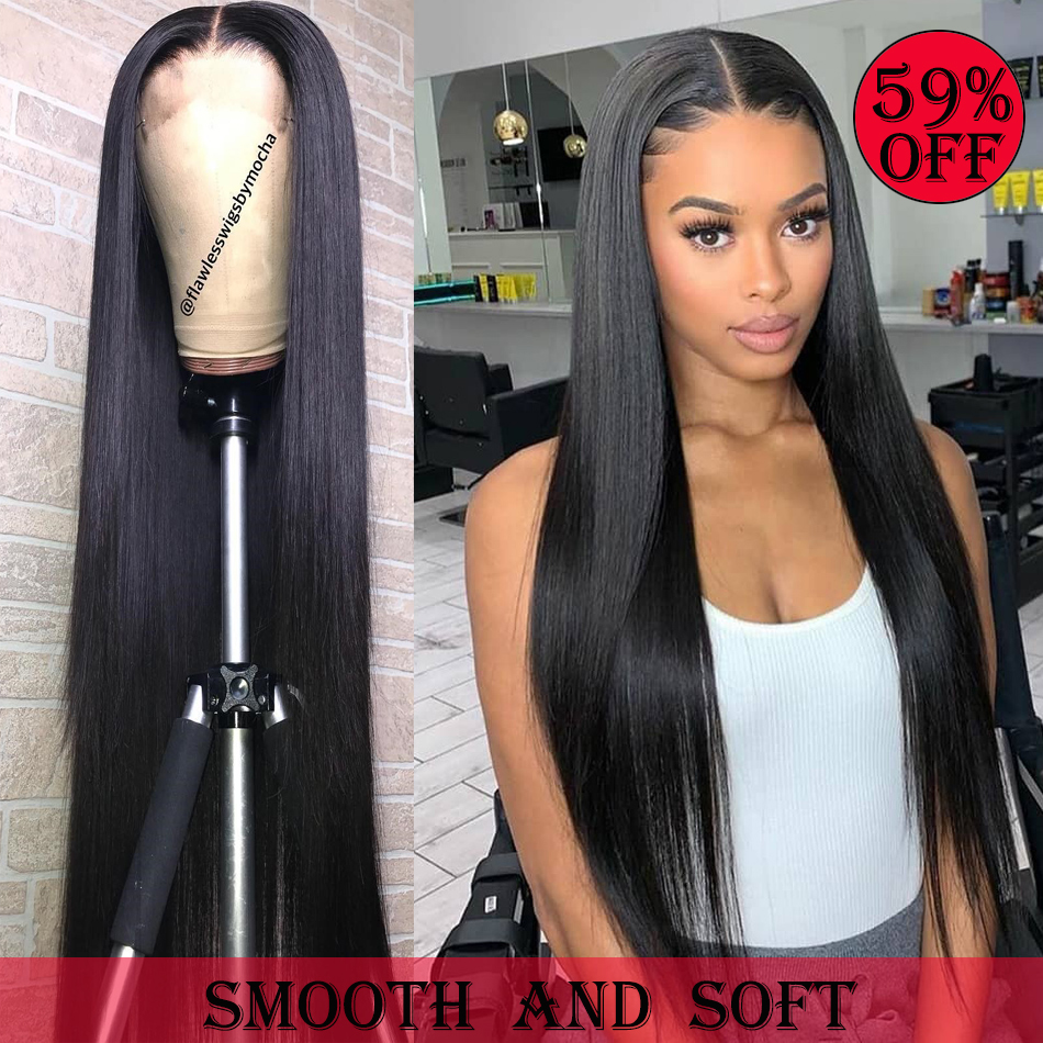 Rosabeauty Straight 13X6 Lace Front Human Hair Wigs Brazilian Alipearl Hair For Black Women PrePlucked 28 30Inch 360 Frontal Wig
