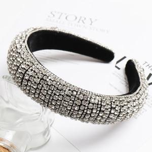 Image 4 - 2021 Rainbow Rhinestone Padded Headbands For Women Girls Luxury Full Diamond Sponge Hairbands Hair Accessories Christmas Gift