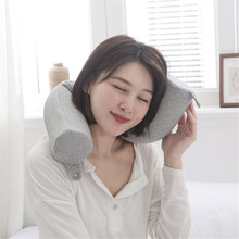 Shaped Memory Foam Neck Pillows Soft Slow Rebound Space Cylindrical Travel Pillow Solid Cervical Healthcare Bedding
