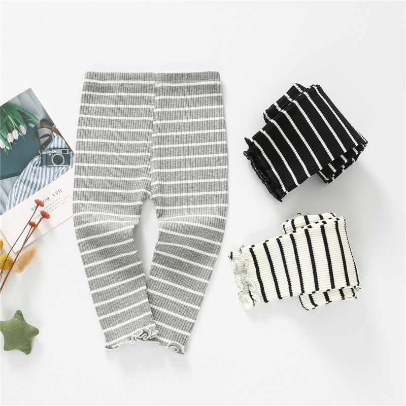 Cotton Baby Pantyhose Children Pants Baby Girls Striped Knitted Leggings Kids Ankle-length Flexible Warmer Leggings