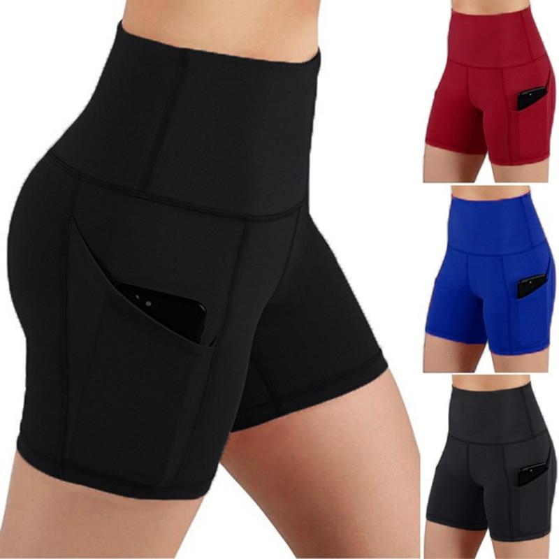 Women High Waist Out Pocket Yoga Short Running Athletic Yoga Shorts Pants Gym Leggings Leggings Sport