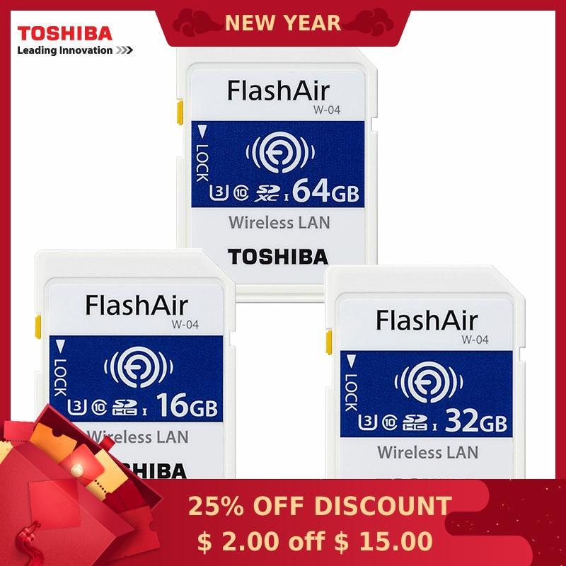 TOSHIBA FlashAir W-04 WiFi SD Card 16GB 32GB SDHC 64GB SDXC Class10 U3 FlashAir W-04 Memory Card Flash Card For Digital Camera