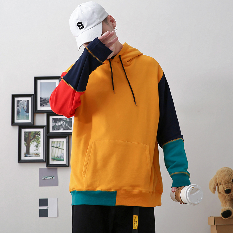 2019 Male Autumn Loose Korean Stitching Hit Color Wild Trend Casual Long-sleeved Hooded Pullover Big Size
