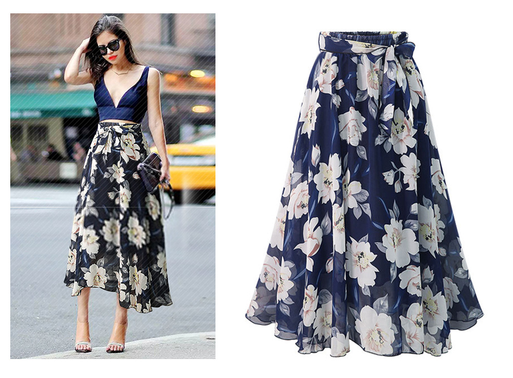 ZOGAA Women Floral Print Chiffon Skirt Ladies High Waist Evening Party Long Maxi Beach Moda Mujer 2018