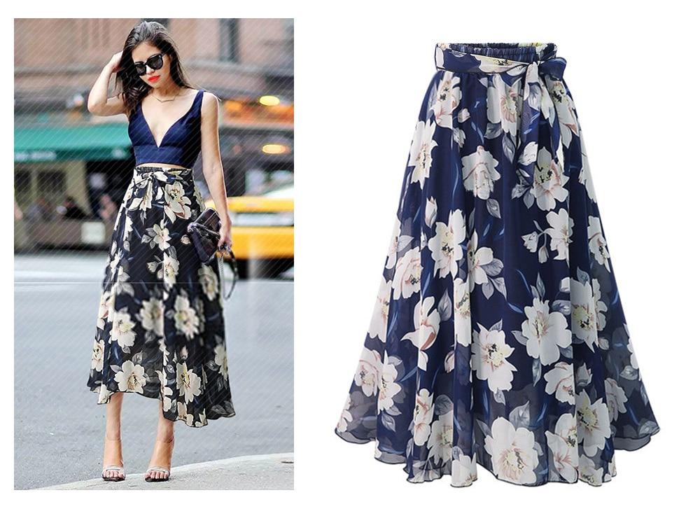 ZOGAA Women Floral Print Chiffon Skirt Ladies Women High Waist Floral Evening Party Long Maxi Skirt Beach Skirt Moda Mujer 2018