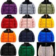 Zima nowa marka twarz parki mieszane kolory para płaszcze bawełniane Casual męska stojak kołnierz kieszeń Warm Down bufiaste kurtki