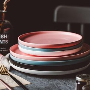 Image 1 - ירי צילום מזון כלי שולחן מוצק צבע קרמיקה צלחות פשוט & יצירתיות בשר צלחת עגול קינוח צלחת סלט מנות