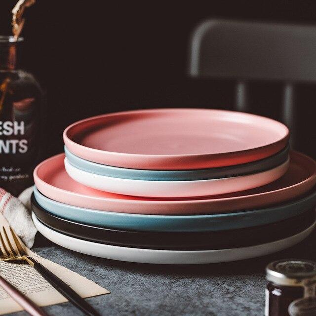 ירי צילום מזון כלי שולחן מוצק צבע קרמיקה צלחות פשוט & יצירתיות בשר צלחת עגול קינוח צלחת סלט מנות
