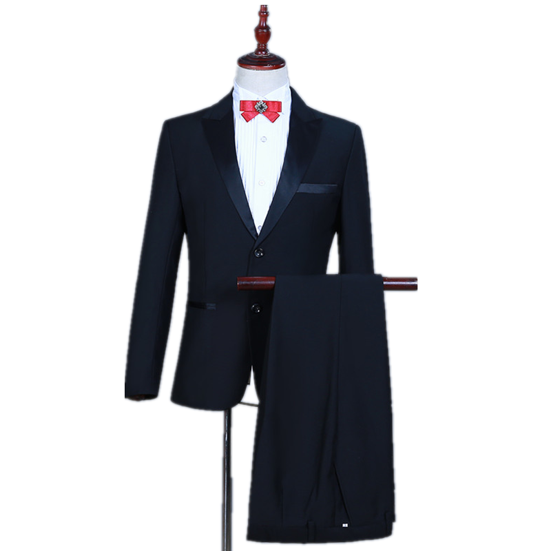 Fashion Slim Edition Casual Black Business Style Men's Suit Set Two Buttons Black 2 Piece Men's Formal Suit (coat  + Pants)