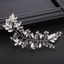 Bridal Hair Accessories Wedding Headband Crystal Rhinestone Silver Color Bridal Headpiece Hair Vine Hair Jewelry Accessories slbridal handmade crystal rhinestone pearls flower wedding hair clip barrettes bridal headpiece hair accessories women jewelry