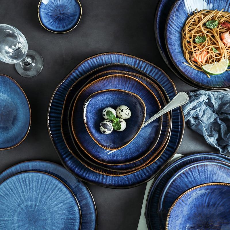 Креативная посуда Klin глазурованная синяя керамическая тарелка домашняя плоская тарелка глубокий стейк тарелка миски для завтрака обеденн...