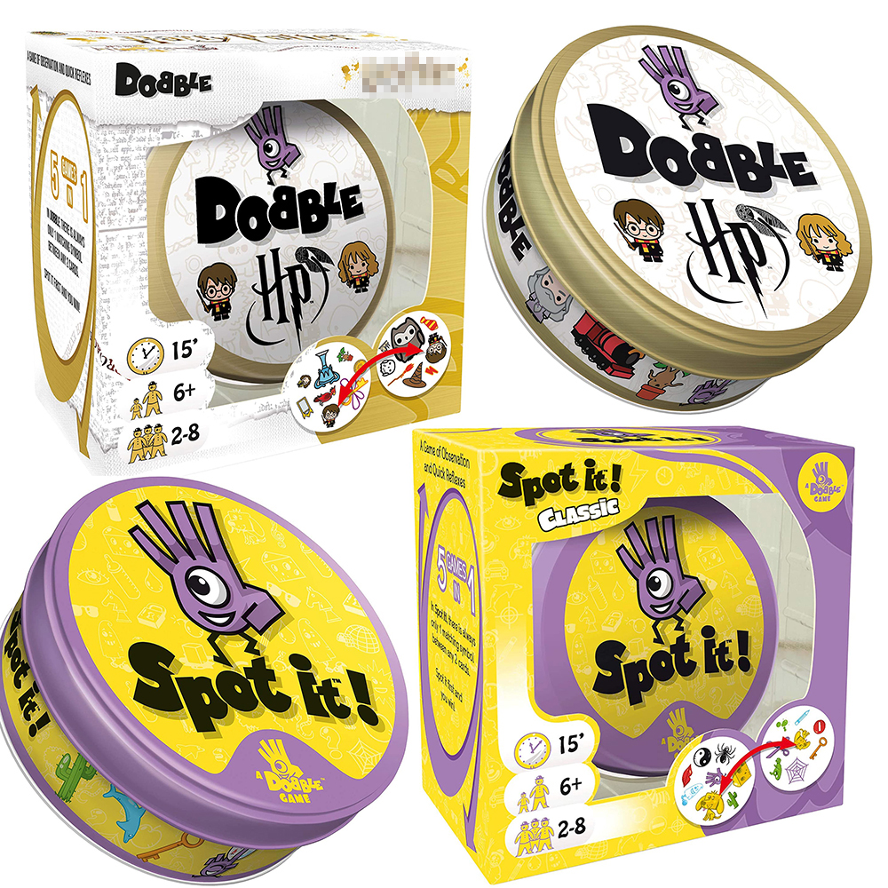 Dobble HP 16 Style Harried Spot It Card Game Toy Iron Box Potter Sport Go Camping Hip Kids Board Games Gift Animals Alphabet123