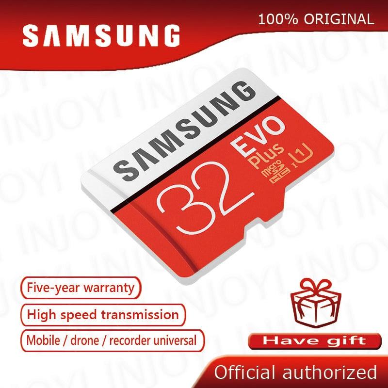 Carte mémoire Micro SD Samsung dorigine, accessoire de stockage Samsung EVO PLUS, 64 go, Class 10, 128 go, UHS-1, 32 go, 16 go, 256 go