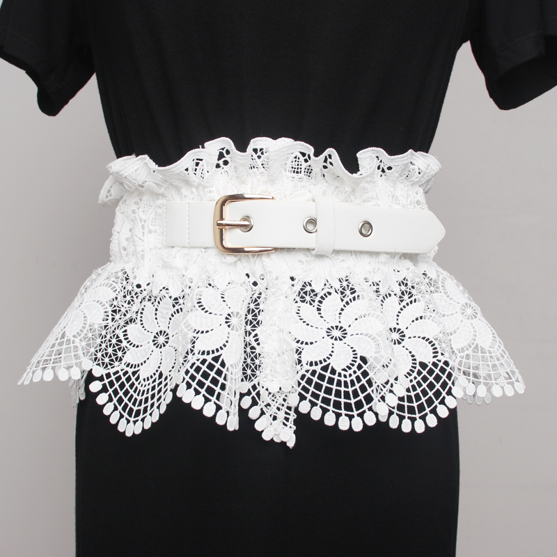 2020 Spring And Summer Fashion Trend Lace Cloth Waist Sealing Female Wide Decorative White Shirt Dress T-shirt Belt Worn Outside