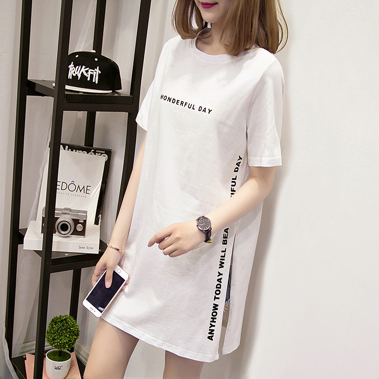 H39e8f7d5740140a192fc2e77c5e6d9e7K - Nkandby Plus size WONDERFUL DAY Print Long T shirts Summer Women Loose Slit Femme Tops Cotton Tshirt Short sleeve Ladies t-shirt