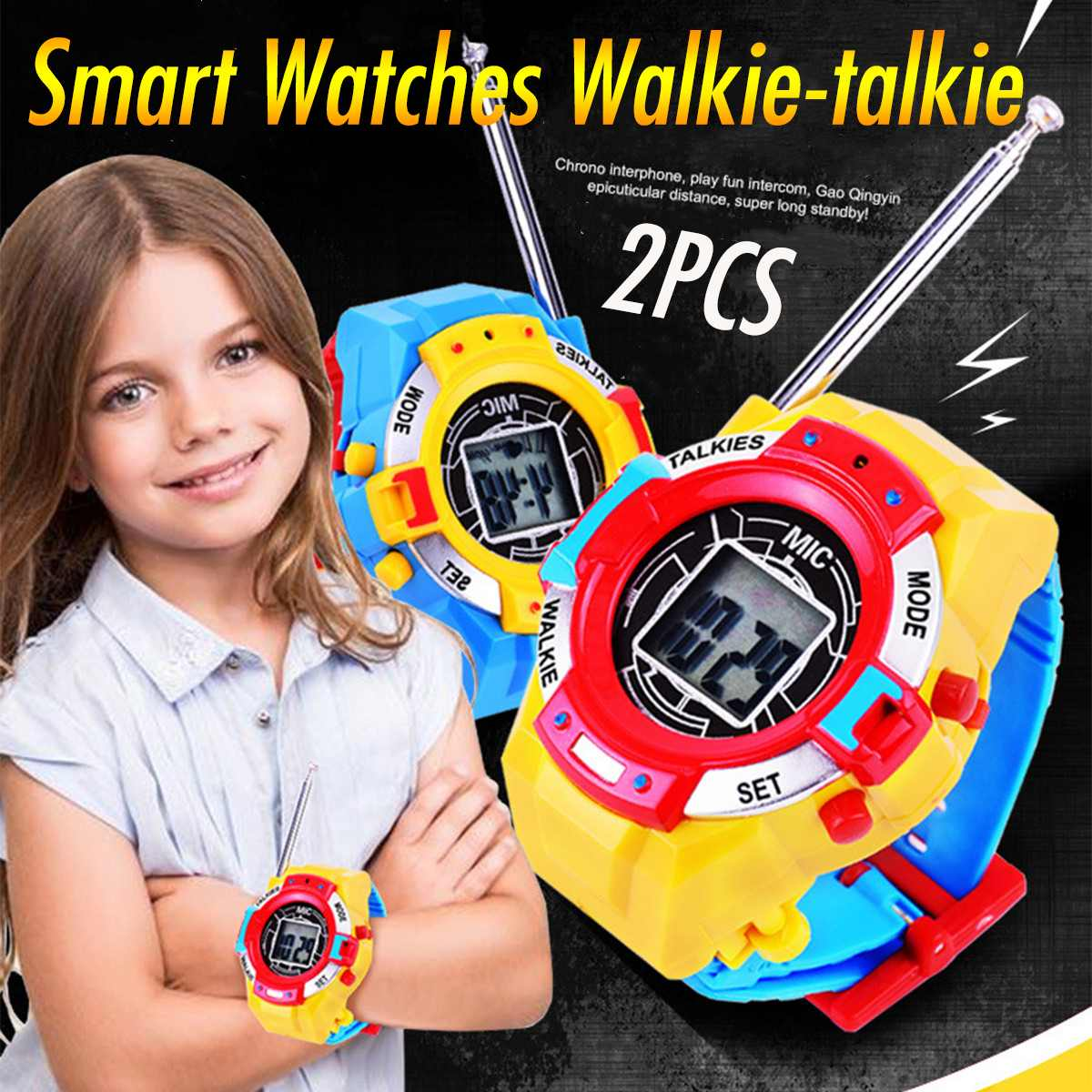 2Pcs Smart Watches Walkie Talkies With Time Display Function Watch Kids Watches Two-way Radios Interphone Clock Gift Hot Sale