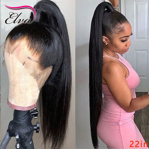 Image 4 - Elva שיער 370 תחרה פרונטאלית פאה מראש קטף מזויף קרקפת פאה ישר 13x6 תחרה מול שיער טבעי פאות עבור שחור נשים רמי שיער פאה