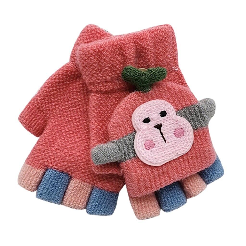 Для малышей, детей, Зимняя Теплая Вязаная безрукавка без пальцев, перчатки-трансформер, удобные перчатки для маленьких мальчиков и девочек - Цвет: Арбузно-красный