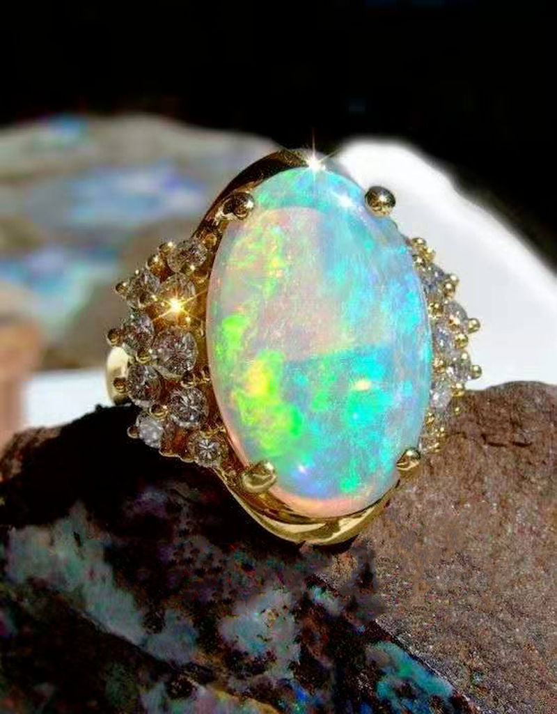 Milangirl Golden Fashion Oval Opal Color Ring, Fashionable Exquisite Jewelry women rings