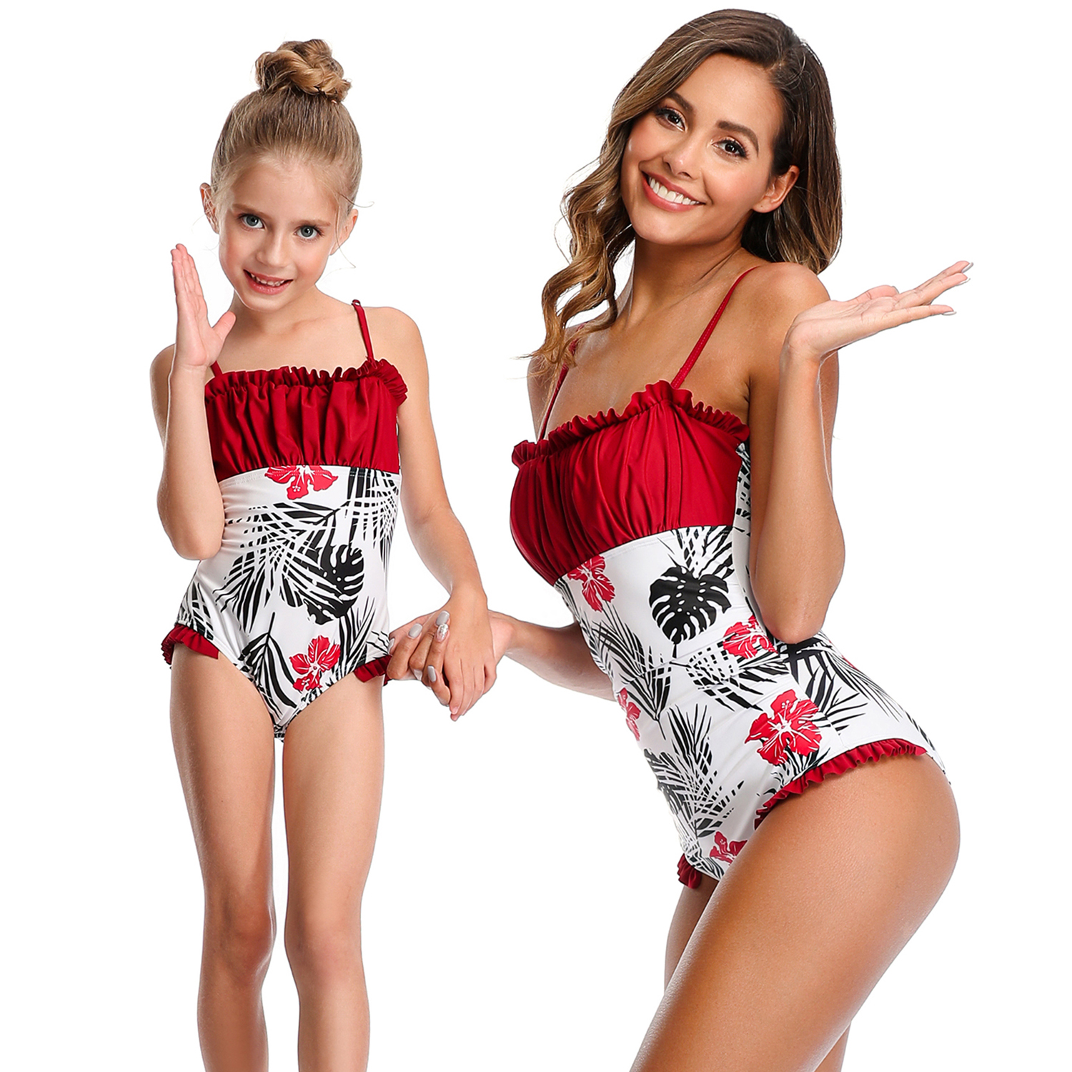 Ruffled Leaf Swimsuit Mother Daughter Swimwear Mommy And Me Clothes Family Matching Outfits Look Mom And Baby Bathing Suit Dress