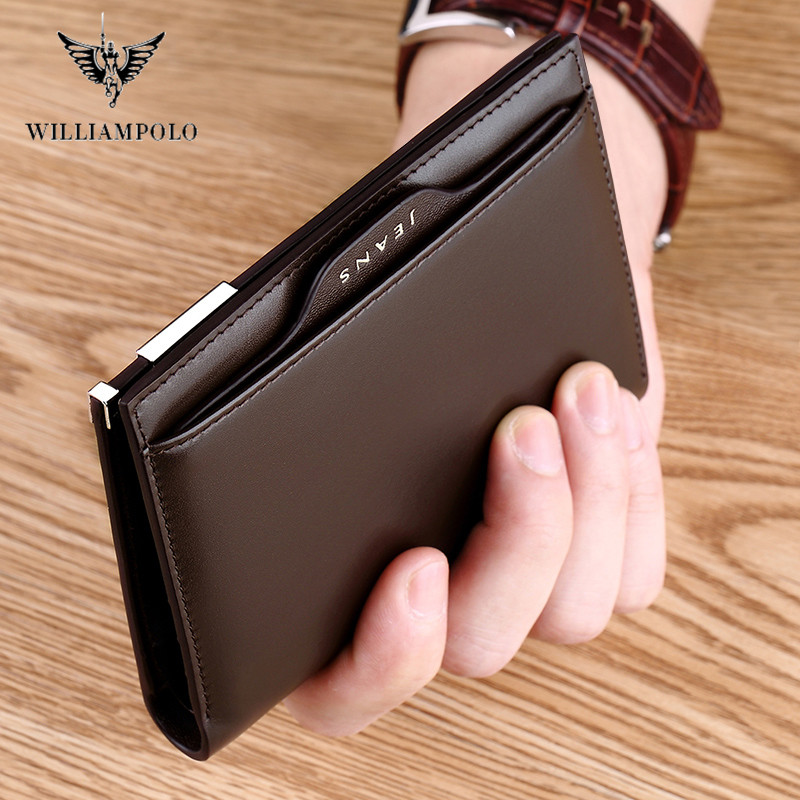 WILLIAMPOLO Men Wallets Male Purse Genuine Leather Wallet With Coin Pocket Zipper Short Credit Card Holder Wallets Leather