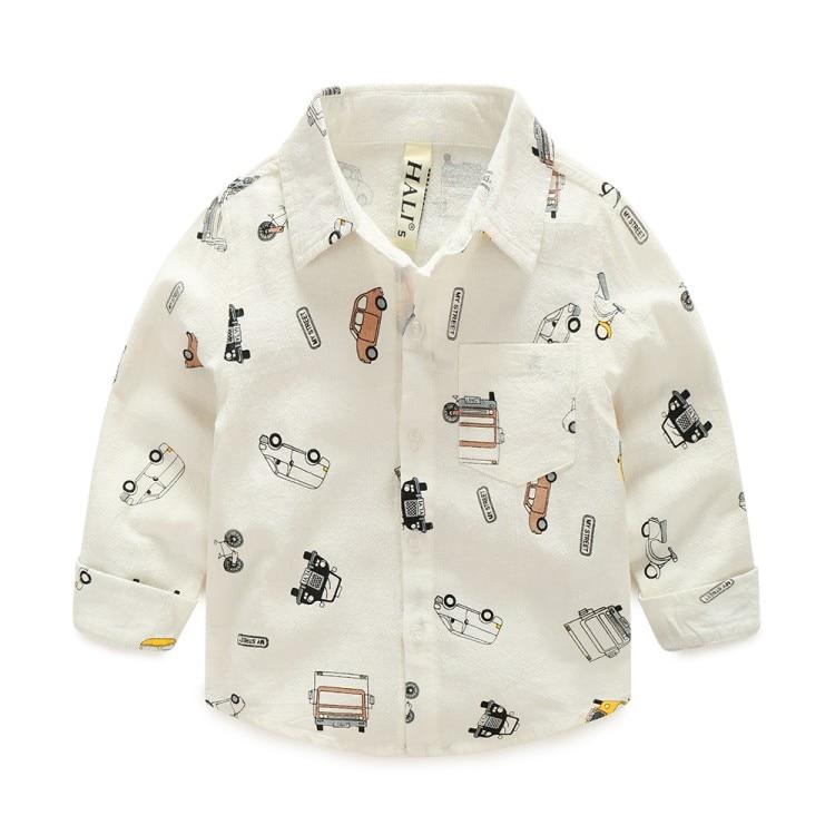 COOTELILI  Cartoon Children Boys Shirt Kid Long Sleeve Car Shirts Child Kids Boys Shirt Tops Blouse Casual Clothes (3)