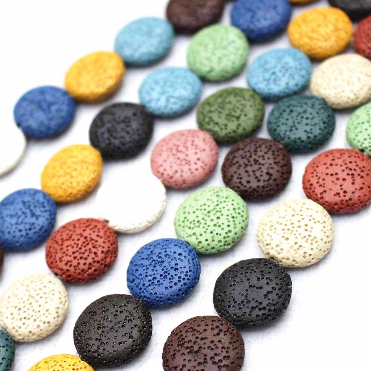 Wholesale Natural Lava Loose Beads,15 Color Volcanic stone Round flat beads DIY jewelry accessories