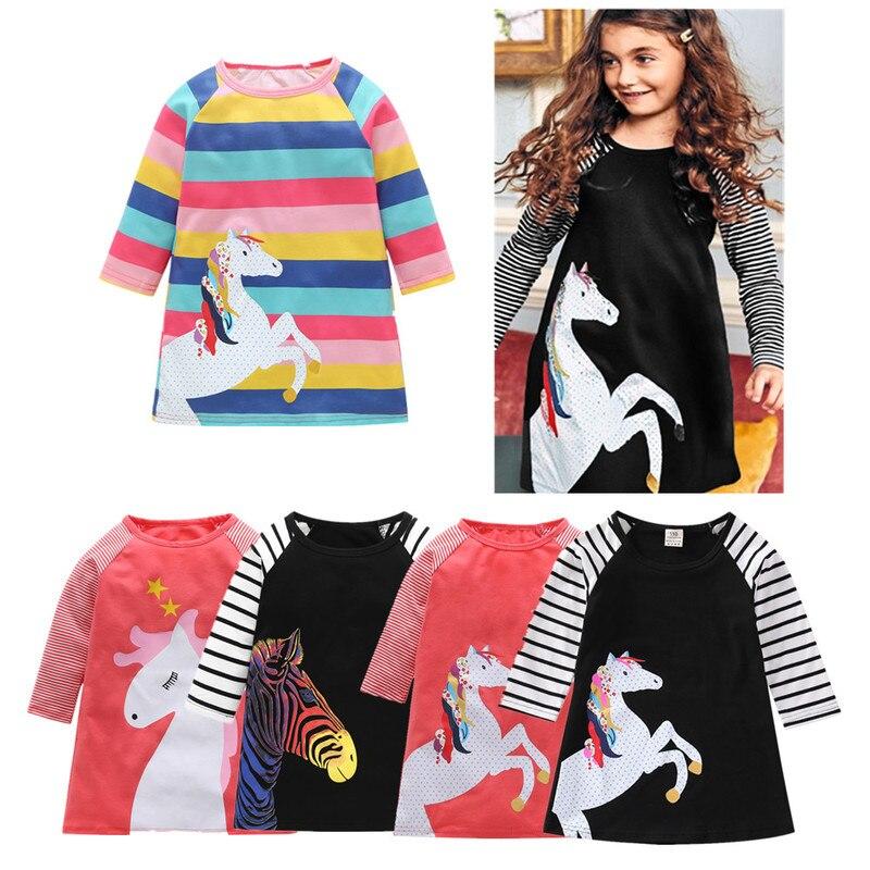 Meninas vestido crianças criança listra manga longa vestidos outono inverno crianças roupas 1-7 anos menina vestido de princesa elegante