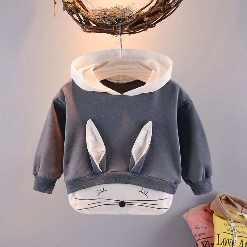 2019 spring Autumn Children Baby Babi Kids boys Long Sleeve cute sweet Cartoon rabbit Hooded Sweatshirts Outwear Coats