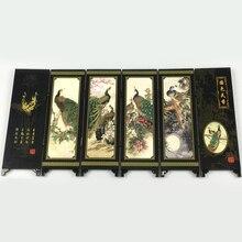 1X 6-Панель Павлин Экран номер делителя деревянная складные перегородки украшения