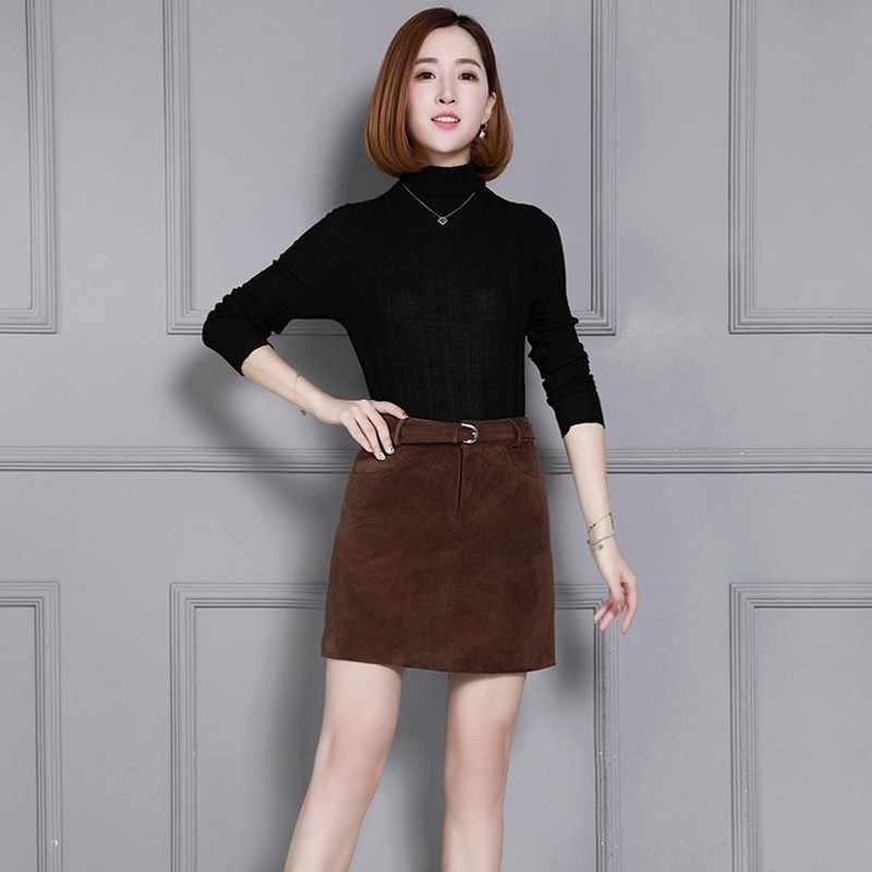 Qualidade superior de couro genuíno camurça feminina saias linha a cintura alta faixas streetwear ajuste fino plus szie S-4XL feminino saias envoltório