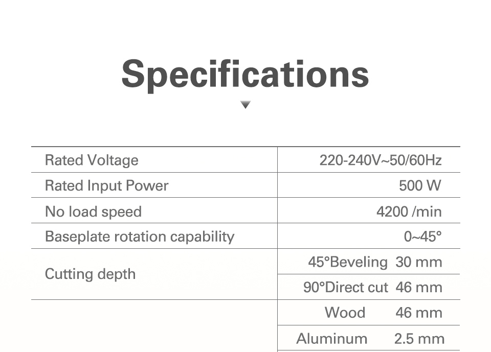 Specification of Work Saw