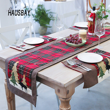 180*35cm Cotton Christmas Table Runners Lattice Deer Tree Cloth Cover for Desk Home Decoration TC010