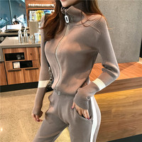 Autumu Two Piece Set Women Long Sleeve Zipper Knitted Cardigans + Elasticity Pencil Pants Fashion Slim Jacket Trousers Sets