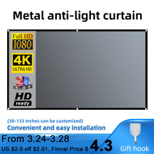 Salange Projector Screen 16:9 Metal Anti Light Curtain Reflective Fabric Cloth For YG300 XGIMI H2 HALO Mogo Xiaomi DLP Projector