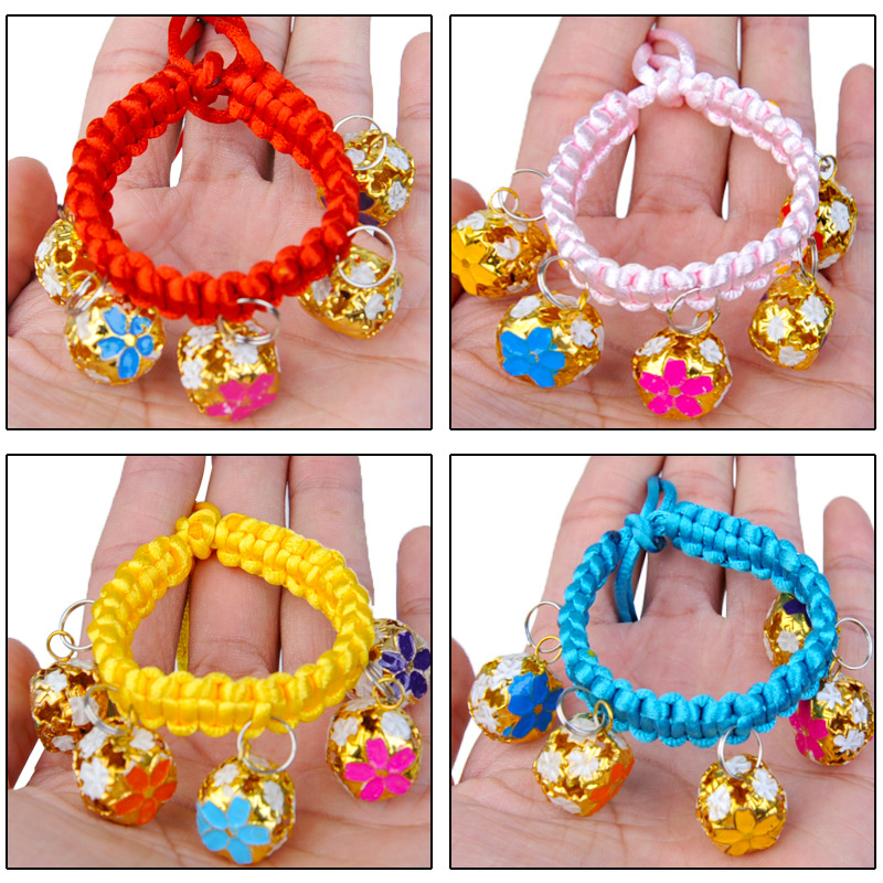 Hand-woven Nylon Rope Cat Necklace With Bell Adjustable Dog Neck Ring Pet Decorations Wholesale