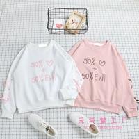 Autumn ins Japanese Women Sweet Sweatshirt Hoodie Cute Numeral Print ulzzang Student Loose Tied Long Sleeve Tops Preppy Style