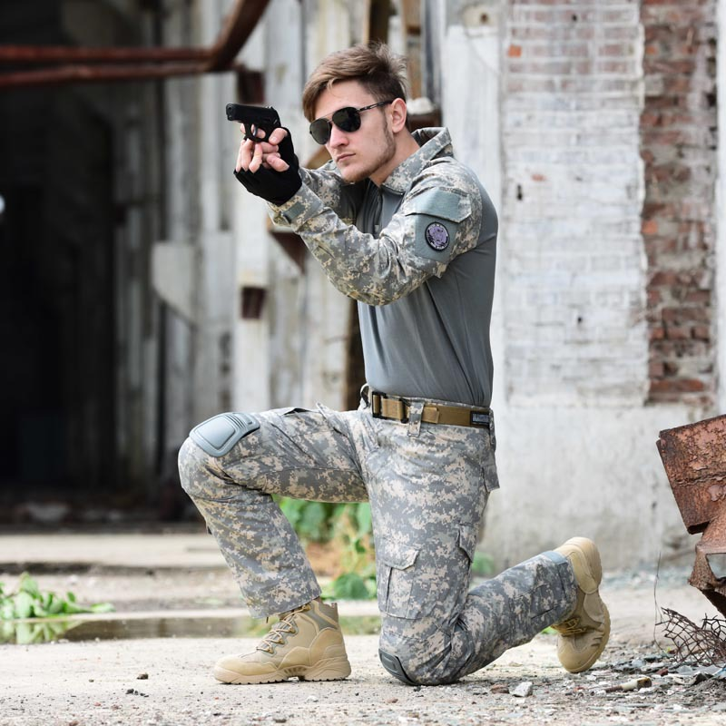 Tactical Camouflage Military Uniform Clothes Suit Men US Army Clothes Airsoft Military Combat Shirt + Cargo Pants Knee Pads