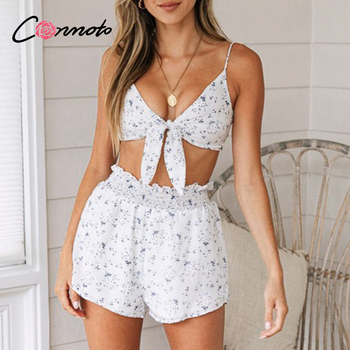 Conmoto beach floral summer chiffon rompers women casual spaghetti strap playsuits romper plus size short jumpsuits rompers