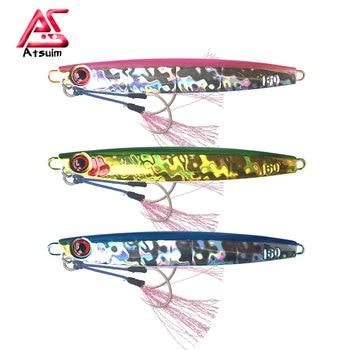 As Slow Pitch Jigs Metal Pesca Lure BKK Hooks 80g120g160g200g Metal Glow Jigs Slow Falling Luminuous Bait Fishing Angler jigs