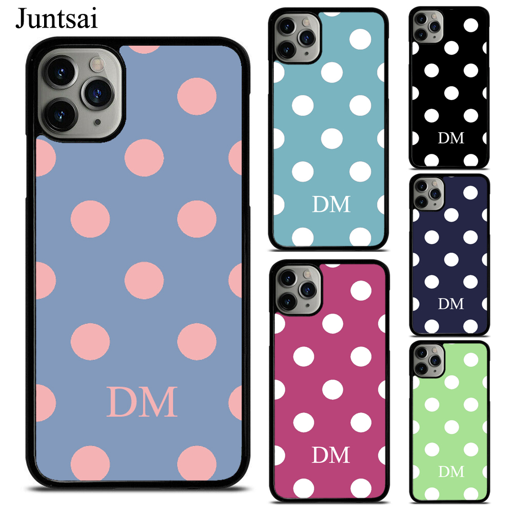 INITIAL Polka Dots Spot Pattern PERSONALISED TPU Phone Case For iPhone X XS Max XR 7 8 SE 2020 6S Plus 11 Pro Max Cover Coque