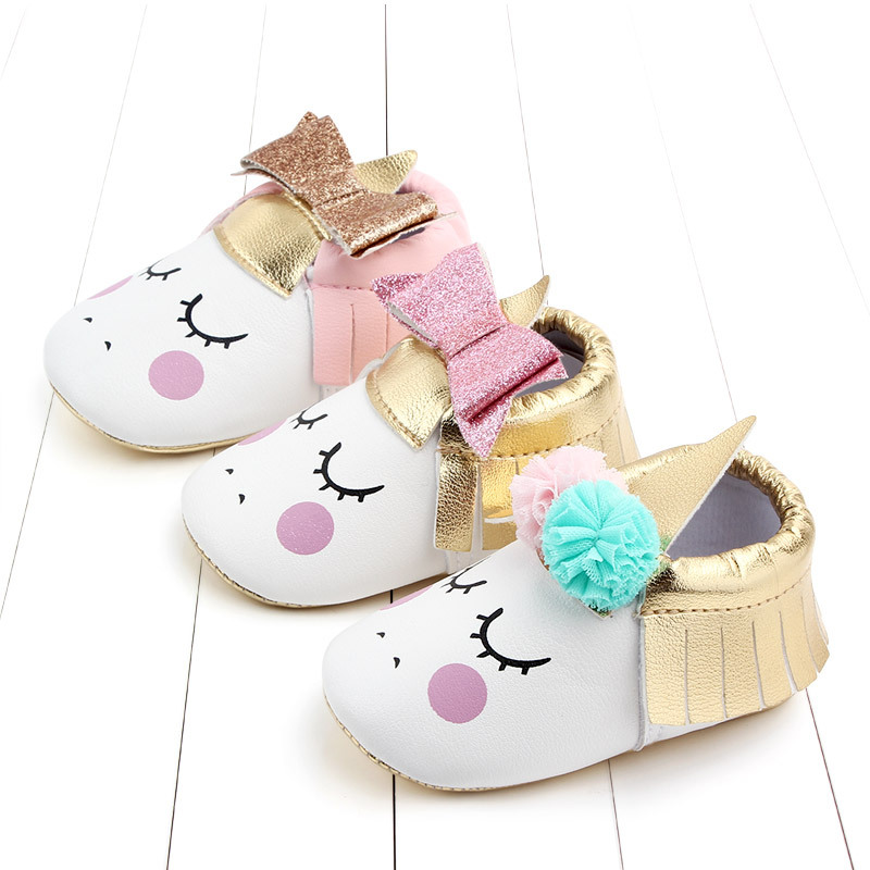 Baby Girls Princess Cartoon First Walkers Newborn Soft Soles Leather Crib Anti-Slip Shoes Cute Unicorn Baby Shoes 0-18M Hot